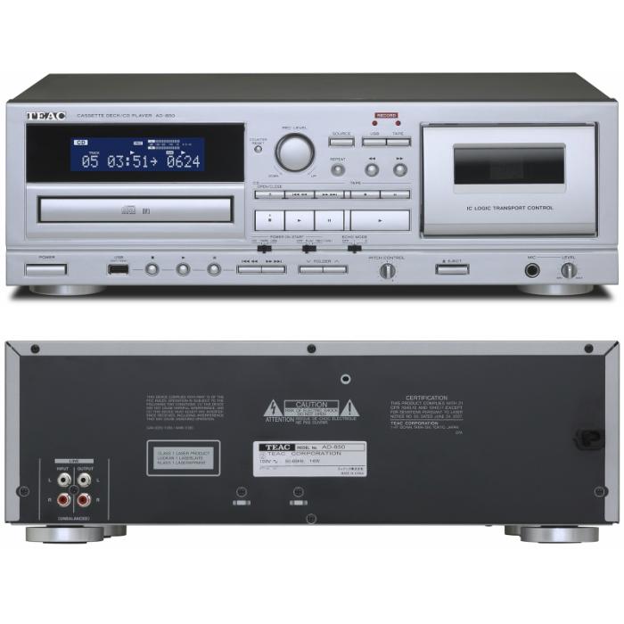 カラオケにも使えるエコー機能付きマイク入力端子を装備USBメモリーにも録音が可能なカセットデッキCDプレーヤー アナログ カセットデッキ 録音 再生 CDプレーヤー AD-850 シルバー リモコン付属 TEAC 爆安プライス 日本全国 送料無料