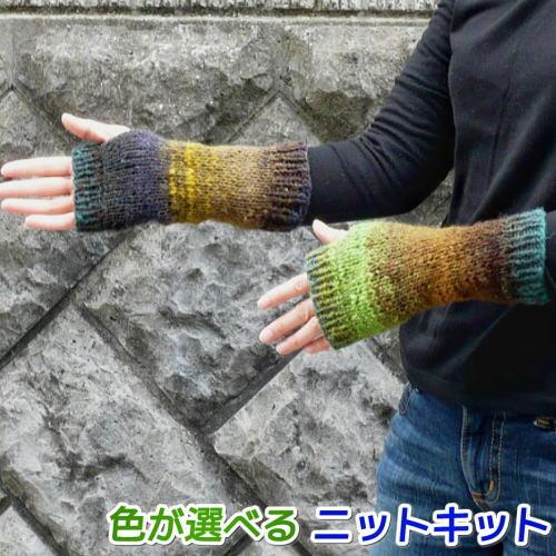 編み物初心者さんもOK 至上 1玉で完成が嬉しい簡単手編みキット 野呂英作のくれよんで編む簡単指なし手袋 手編みキット 編み図 編みものキット 毛糸 人気キット 奉呈
