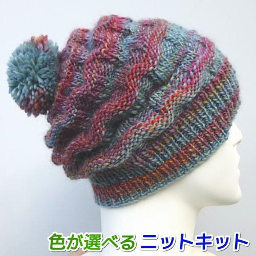 ウェーブのような編地と段染めが面白いニット帽 メイクメイクで編むウェイブキャップ オリムパス 手編みキット 毛糸 スーパーSALE 贈与 セール期間限定 編みものキット 編み図 人気キット