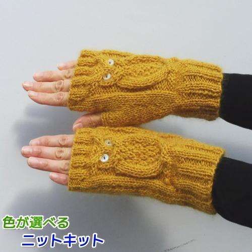 1玉で完成が嬉しいふくろうをかたどった手袋 ドミナノームで編むフクロウの指なし手袋 手編みキット 絶品 買収 ダイヤモンド毛糸 人気キット 編みものキット 毛糸 編み図 動物