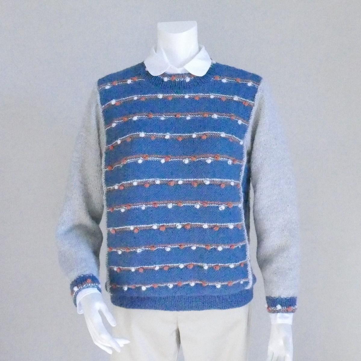 あざやかな色 楽しいドットが気分を引き立てます 100%品質保証! トシエ アルパカ Mサイズ セーター 手編み 予約販売 てあみ天国