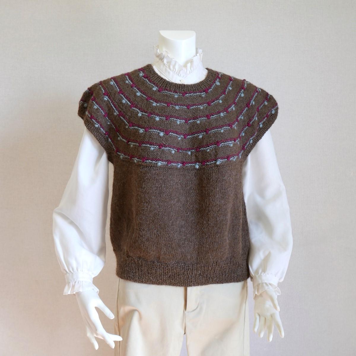 アンリ 手編み 半袖セーター ベスト アルパカ 毛糸 てあみ天国