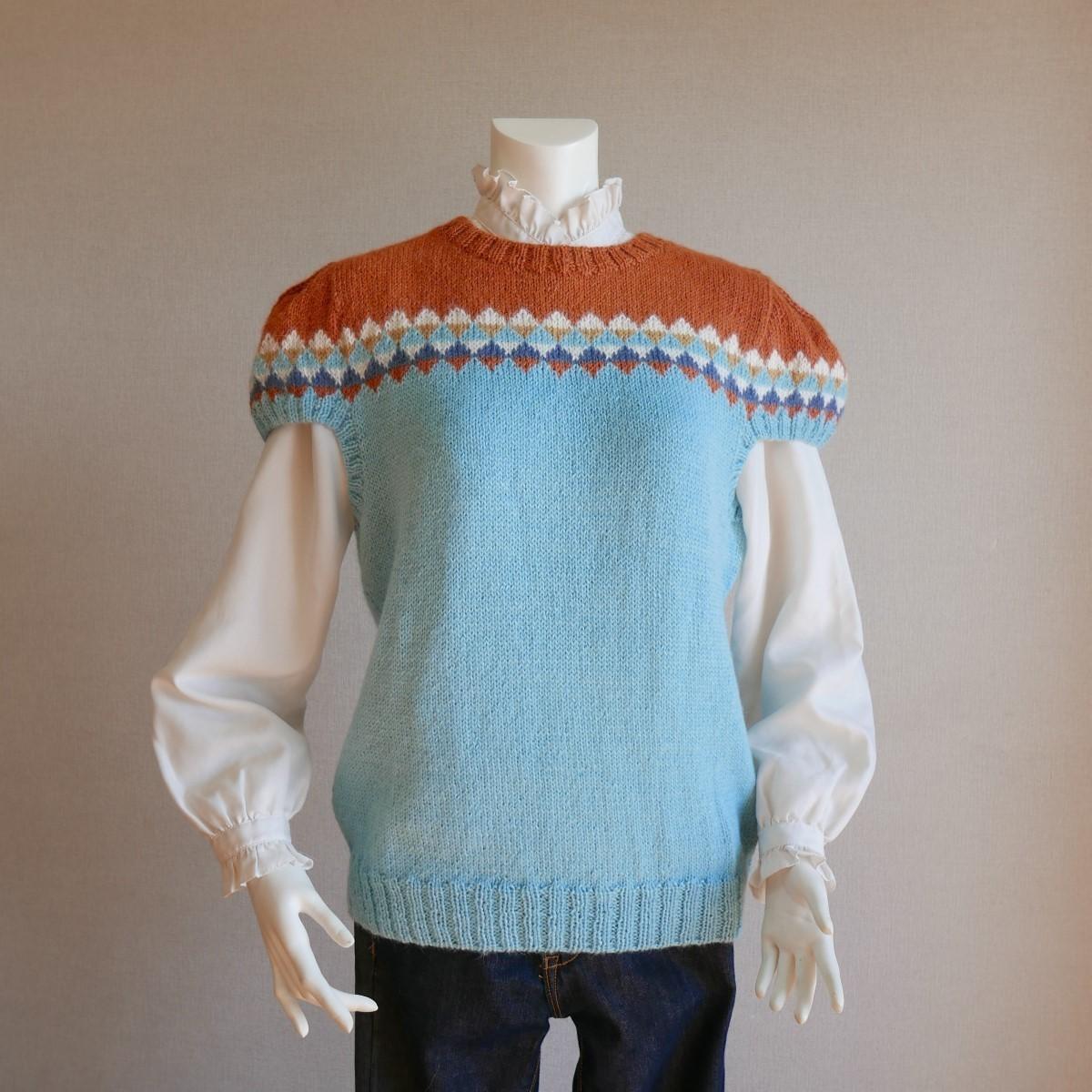 ピピ 手編みベスト 半袖セーター アルパカ 毛糸 てあみ天国 ニット