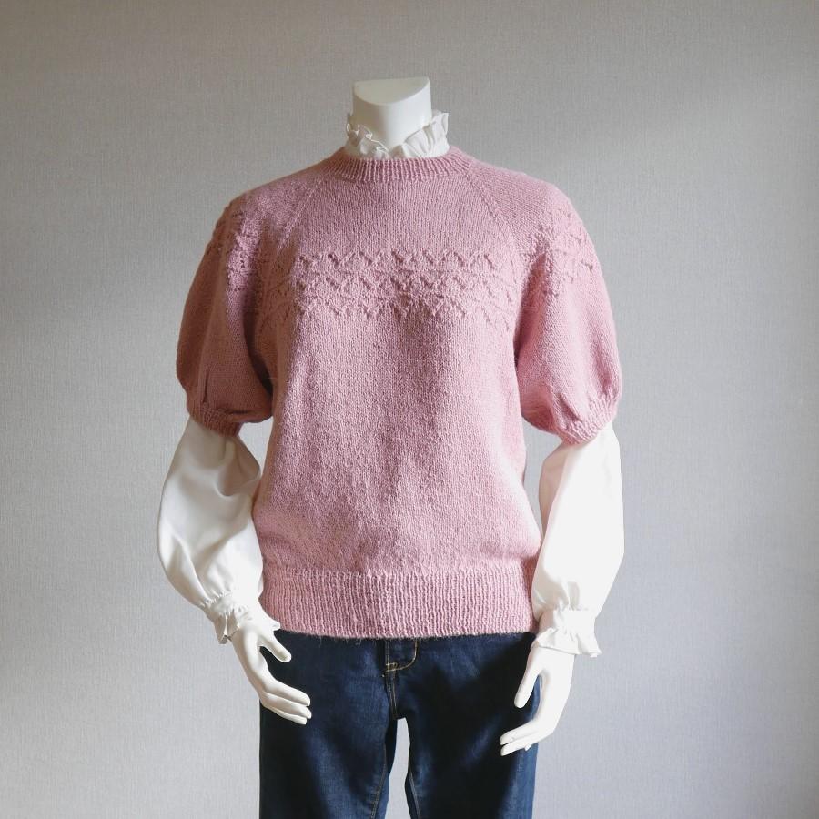 《週末限定タイムセール》 めったに見ない半袖セーター おしゃれの極みです トモコ てあみ天国 正規品 半袖セーター アルパカ セーター 手編み