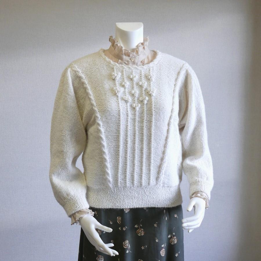 ワコ2 てあみ天国 セーター 最新号掲載アイテム 手編み アルパカ 安心の定価販売 ペルー ニット Mサイズ 冬物 厚地