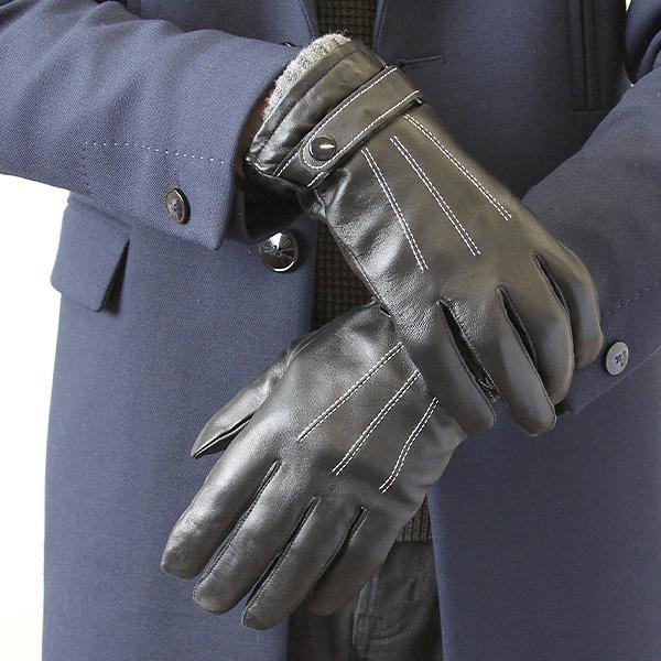 紳士 手袋 激安卸販売新品 革手 羊革 70%OFFアウトレット 黒 裏ボア ベルト プレゼント 上品 紳士革手ホワイトステッチベルト付カフスニット エレガント サイズ調節機能付き 高級 メンズ