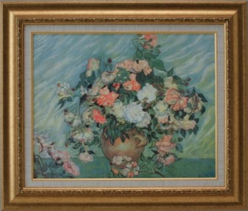 【受注生産品】 【代引不可】 ゴッホ 【ピンクと白の薔薇】 [ac-1508] 世界の名画・高級複製画