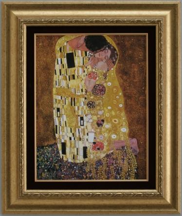 【受注生産品】 【代引不可】 クリムト 【接吻】 [ac-1601b] 世界の名画・高級複製画
