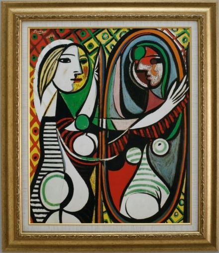 【受注生産品】 【代引不可】 ピカソ 【鏡の前の少女】 [ac-1901] 世界の名画・高級複製画