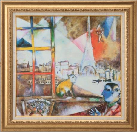 【受注生産品】 【代引不可】 シャガール 【パリ、窓からの風景】 [ac-2304] 世界の名画・高級複製画
