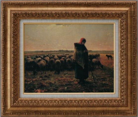 正規激安 【受注生産品】 【】 ミレー 【羊飼いの少女】 [ac-303b] 世界の名画・高級複製画