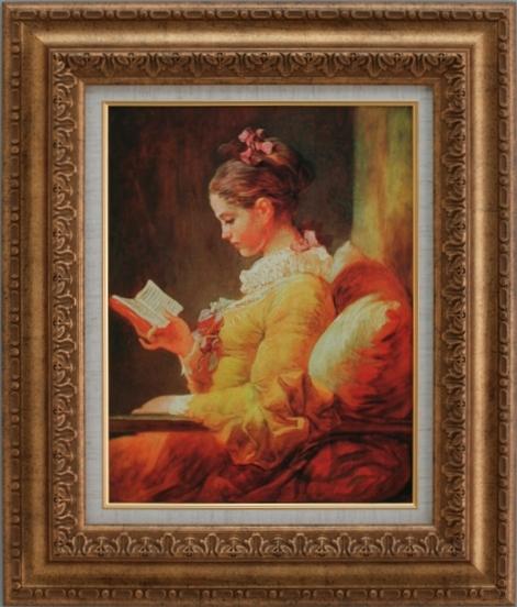 【受注生産品】 【代引不可】 フラゴナール 【読書する少女】 [ac-304a] 世界の名画・高級複製画