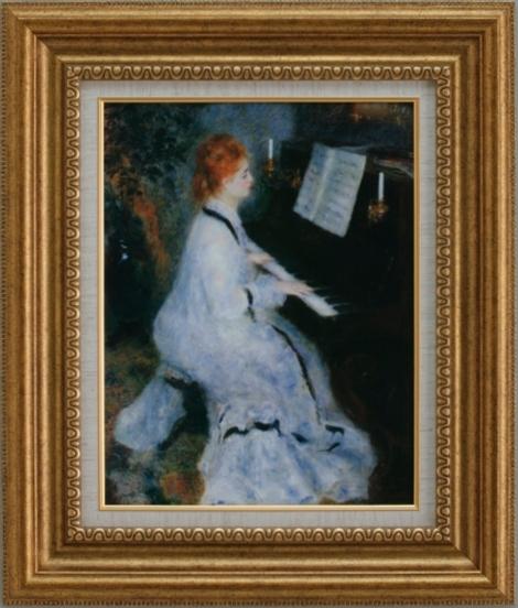【受注生産品】 【代引不可】 ルノワール 【ピアノを弾く若い女】 [ac-708a] 世界の名画・高級複製画