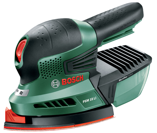 【BOSCH】(ボッシュ) 【DIY電動工具】 [PSM18LIH] バッテリー吸じんマルチサンダー (本体のみ、バッテリー・充電器は別売) フリー&マルチに磨け、しかもクリーンな作業を実現!