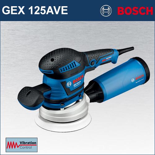 【BOSCH】(ボッシュ) [GEX125AVE] 吸じんランダムアクションサンダー 超低振動がもたらす最高の作業効率!125mmφと150mmφ、1台2役のサンダー!