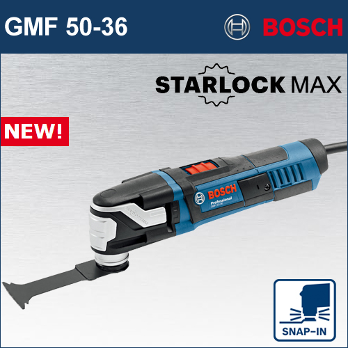 """【BOSCH】(ボッシュ) [GMF 50-36] マルチツール""""スターロックマックス"""" ブレード取付1秒! スナップインシステム!クラス最大500Wモーター搭載により今までできなかった重作業が可能!"""