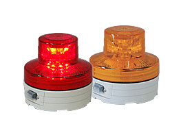 電池式LED回転/点滅灯 ニコUFO NU-BR(赤)/NU-BY(黄)夜間自動点灯タイプ