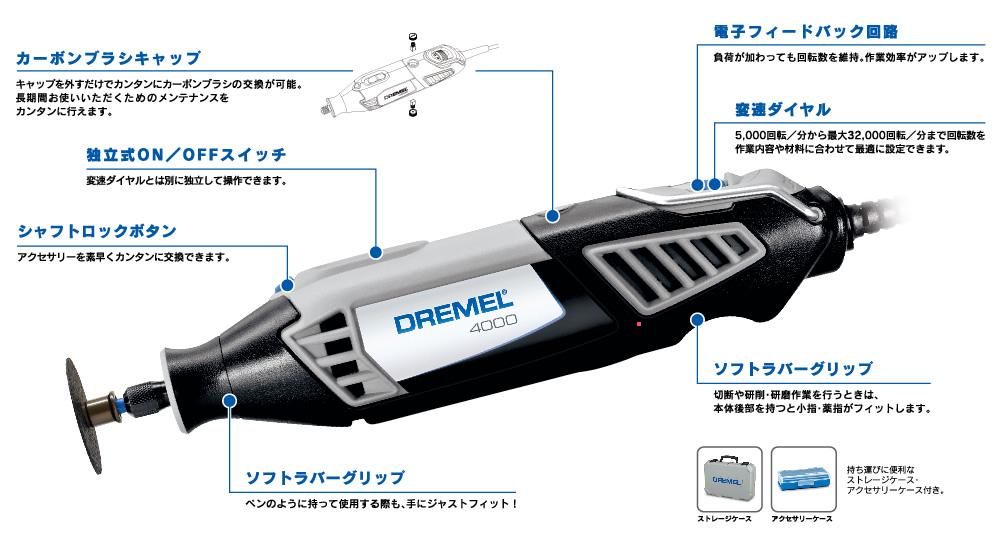 DREMEL(ドレメル)ハイスピードロータリーツール 4000 4000-3/36型 群を抜いたパフォーマンス。作業の幅を拡げるロータリーツール。