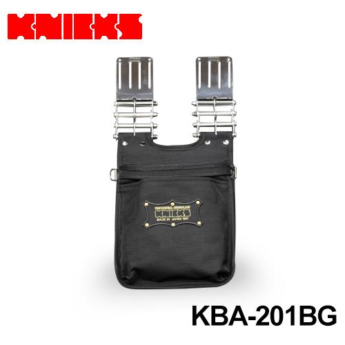 ニックス(knicks) [KBA-201BG] バリスティックナイロン生地2段腰袋〈刺繍ワッペン/黒・金〉