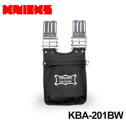 ニックス(knicks) [KBA-201BW] バリスティックナイロン生地2段腰袋〈刺繍ワッペン/黒・白〉