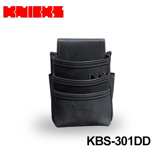 ニックス (knicks) [KBS-301DD] 総ヌメ革 3段腰袋 ブラック 〈ノーマルタイプ〉
