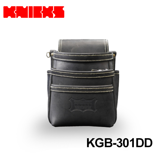 ニックス (knicks) [KGB-301DD] 最高級グローブ革 3段腰袋 ブラック 〈ノーマルタイプ〉