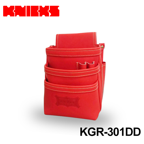 (knicks) 最高級グローブ革 【受注生産品】ニックス レッド 3段腰袋 〈ノーマルタイプ〉 [KGR-301DD]