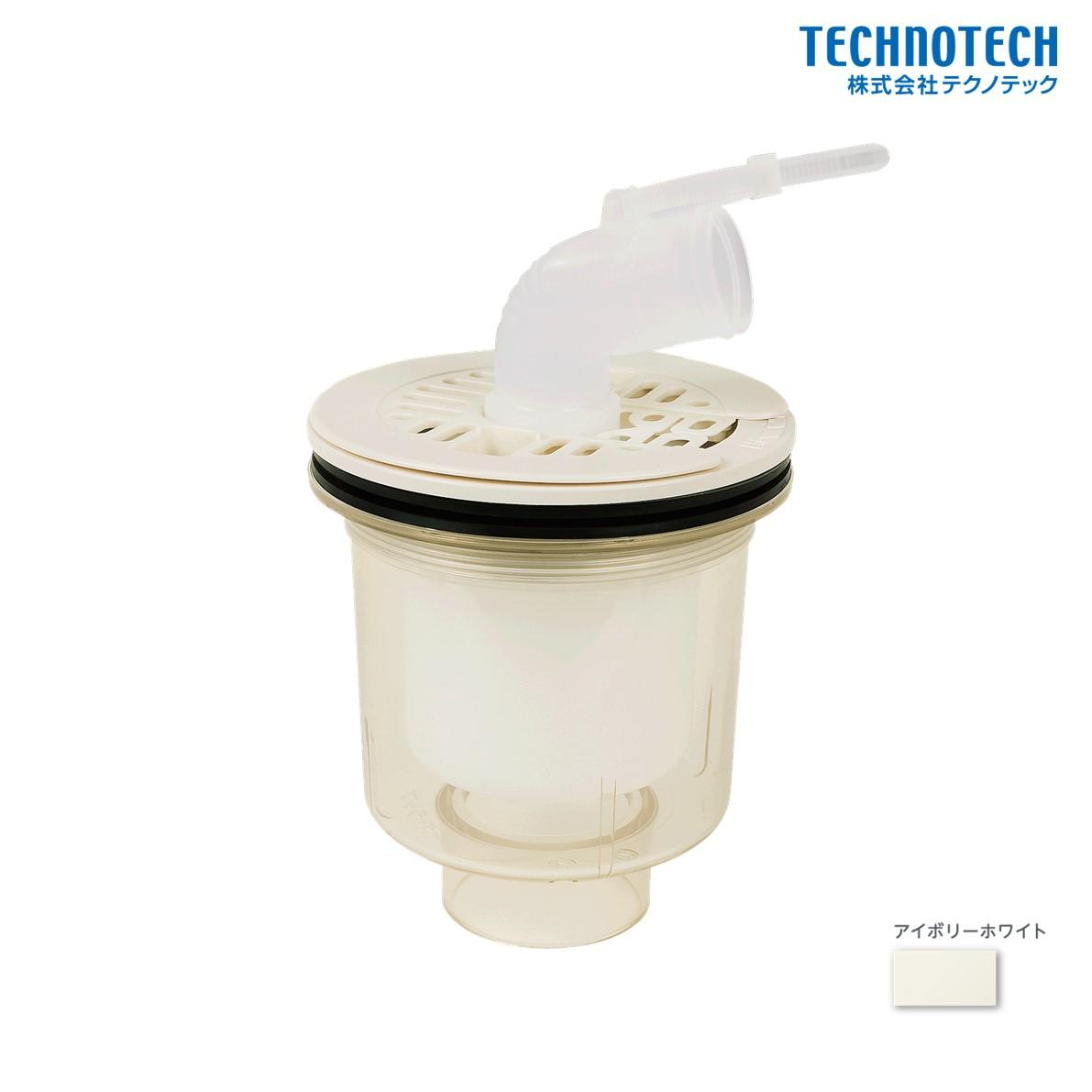 テクノテック 洗濯機 TE トラップ pdt swm 縦 透明 T.Eトラップ 人気の製品 PDT-SWM-W1 アイボリーホワイト 売り尽くし特価 防水パン 縦引排水口 セール品 特価