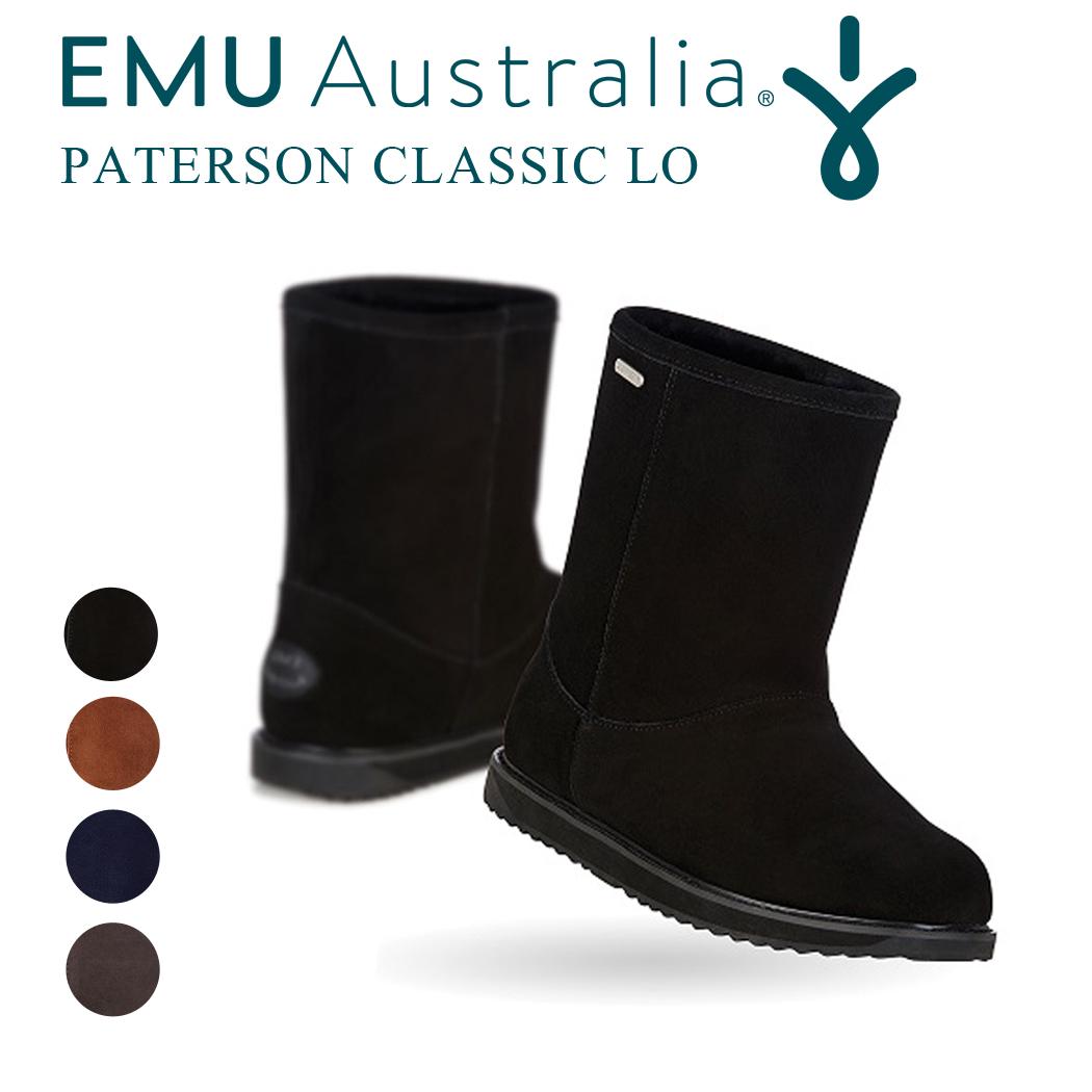 EMU ショートブーツ PATERSON CLASSIC LO レディース 秋冬 シープスキン ボア 天然素材 スエード 防水 通気性あり 無地 ブラック チャコール ミッドナイト オーク (5)22cm-(8)25cm W11590