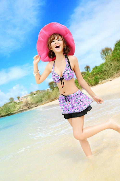 供游泳衣女士比基尼迷你裙3分安排体型kabahorutanekkuwaiyaburasekushi女性使用的妈妈女性褶边可爱的花纹S7号M9号L11号