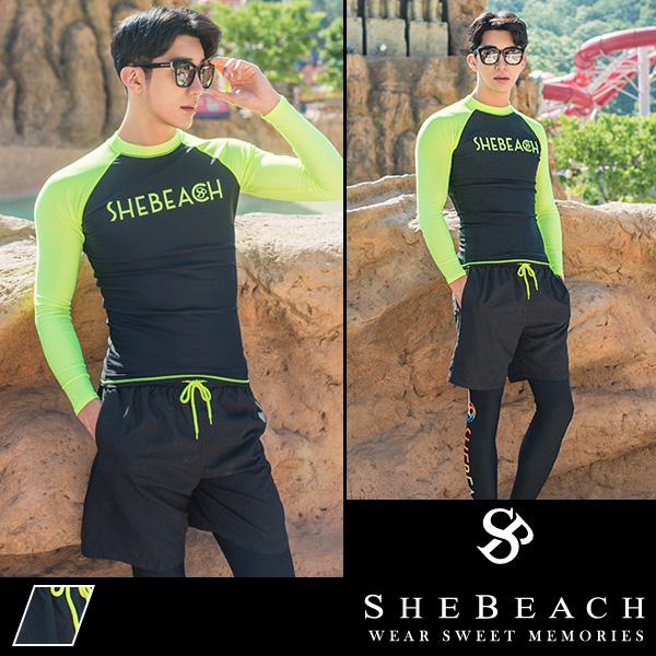 水着 メンズ ラッシュガード サーフパンツ ビーチパンツ 海パン 2点セット 韓国 ファッション SHEBEACH BILLIE RASHGUARD(MEN) SHORTS (MEN) シービーチ 正規品 M L 男性 安全 海 ジム パンツ トップス かっこいい ウエスト調節可能 ポケット付き ロゴ入り シンプル