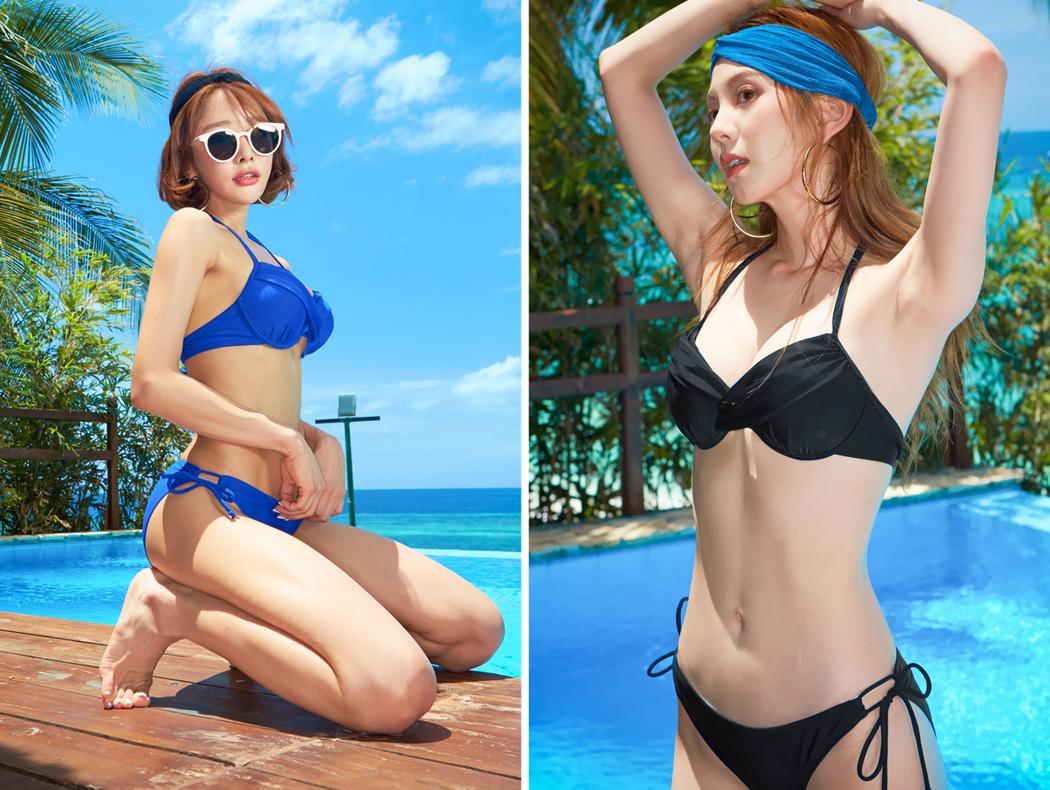 2017新作水着ビキニブラパンツ2点セット海外韓国ブランドSHEBEACH正規品ERICABIKINI(2P)シービーチシンプル無地クロスデザインセクシーキュートおしゃれワイヤー入りホルターネックパッド付き追加可能長さ調節可能女の子大人女性用かわいい