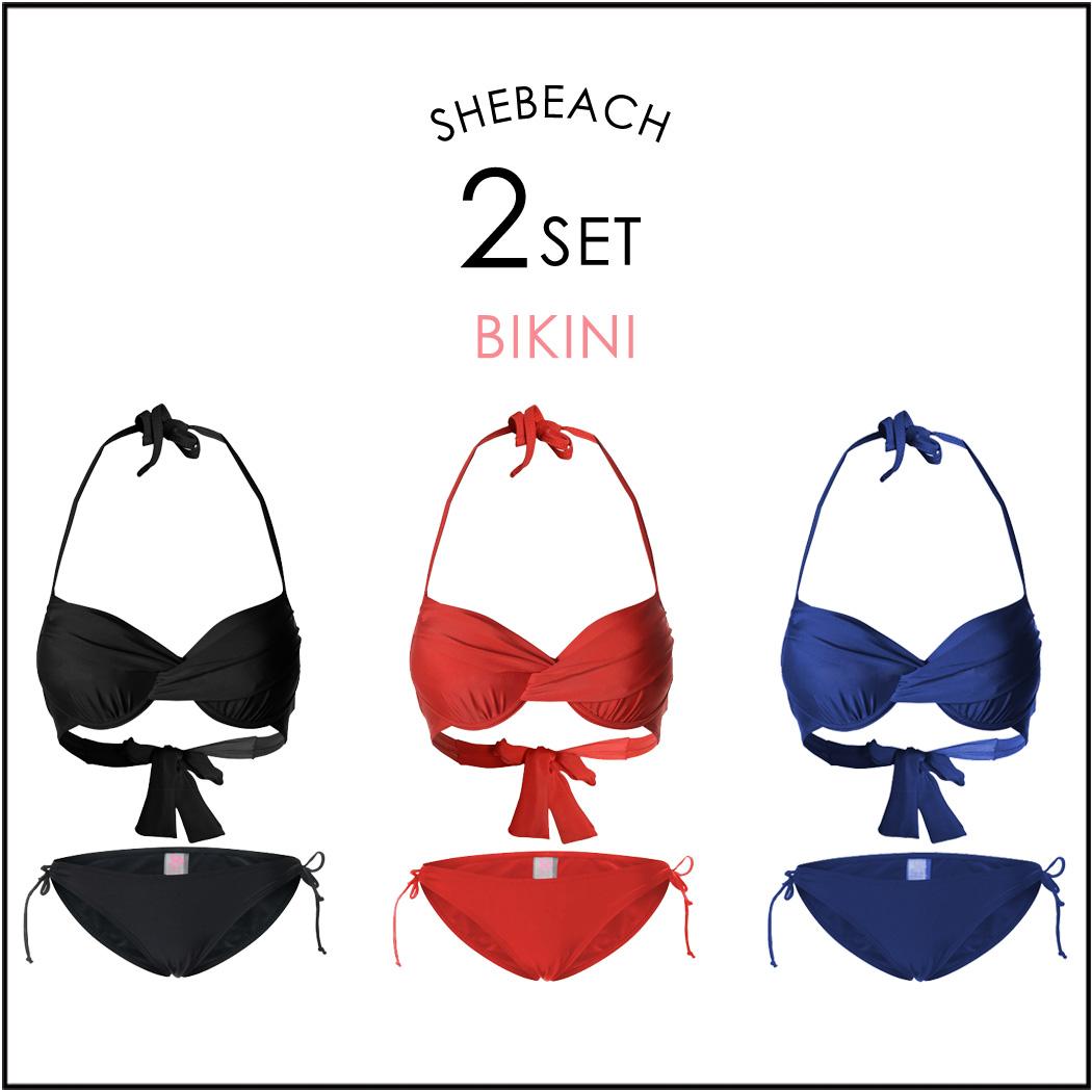水着レディースビキニ黒赤2点セット海外韓国ブランドSHEBEACH正規品シービーチシンプル無地クロスデザインセクシーおしゃれワイヤー入りホルターネックパッド付き追加可能長さ調節可能女の子大人女性用かわいい