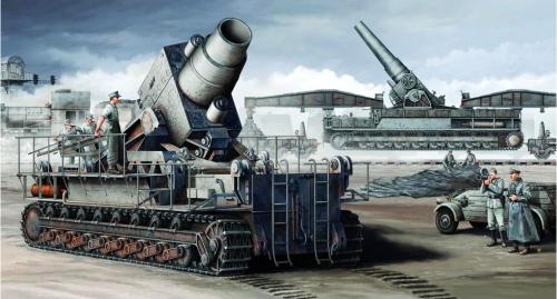 トランペッター No.00208 1/35 ドイツ カール臼砲初期型/鉄道運搬車