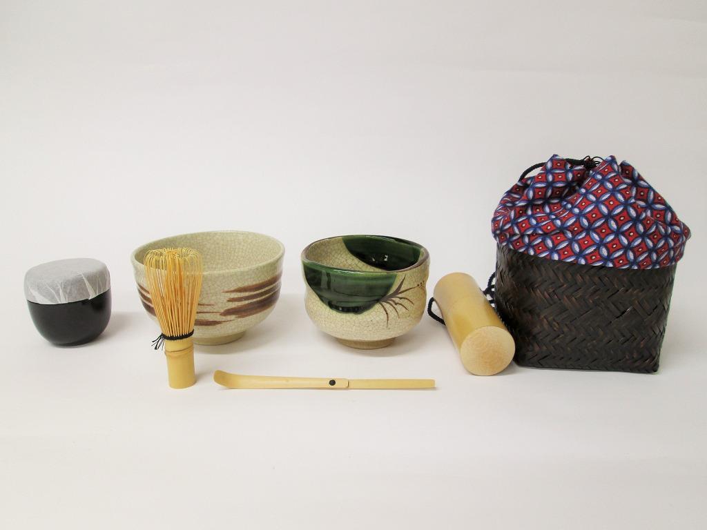 【茶道具/茶道】野点セット小袖籠セット(小袖籠、茶筅、茶筌筒、茶杓、抹茶茶碗2椀、旅なつめ)七宝