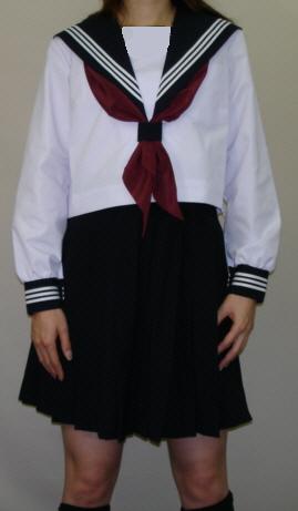 BIGサイズ SN25Big衿・カフス紺色白3本線夏長袖セーラー服