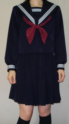 W21衿深め・紺セーラー服Big衿・カフス・胸当て・白3本線