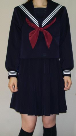 W22衿深め・紺セーラー服衿・カフス・白3本線