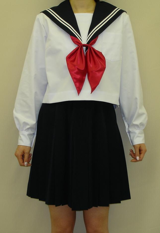 SN28Big衿紺色 白2本線夏長袖セーラー服 BIGサイズ