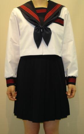 SN02Big衿・カフス・胸当・P紺エンジ3本線夏長袖セーラー服 Bigサイズ