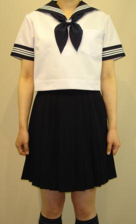 SH20衿・カフス紺色・白3本線夏半袖セーラー服Bigサイズ