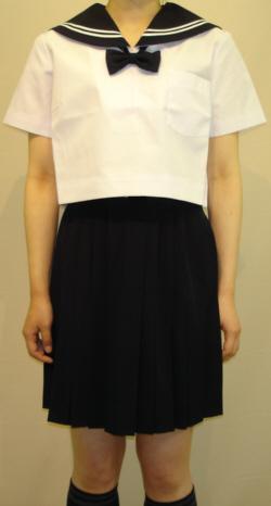 Teen-SH19Big チビ衿紺色白2本線半袖セーラー服Bigサイズ 高校生 学生 中学 女子高生 進学 学校スクール ネイビー 紺 無地