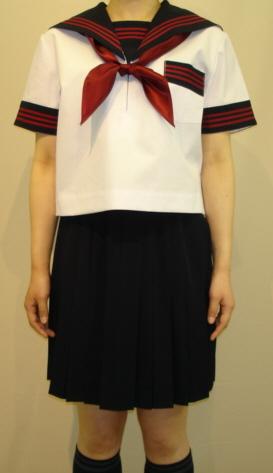 SH60Big衿・カフス・P紺色赤3本線胸当付半袖セーラー服Big新登場!