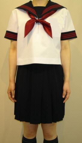 SH54Big衿・カフス紺色赤3本線・胸当付半袖セーラー服Bigサイズ新登場!