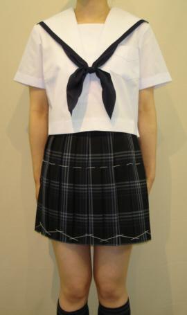 SH04Big紺縁取り白衿半袖セーラー服Bigサイズ