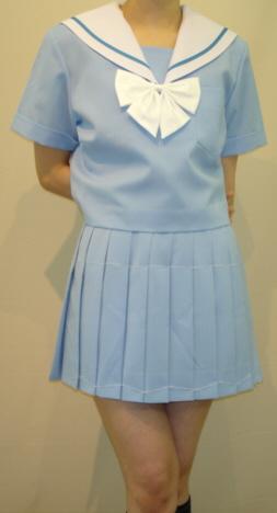 SH25Big白衿水色1本線・水色半袖セーラー服Bigサイズ