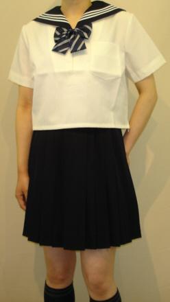 SH62Big衿紺色・白3本線半袖セーラー服Big