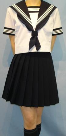 SH47Big衿深め・袖カフス・胸当紺色・白3本線半袖セーラー服Bigサイズ