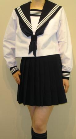 SN24Big衿・カフス・胸当紺色白3本線夏長袖セーラー服 BIGサイズ