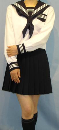 SN31Big衿・カフス・P・胸当紺色白3本線夏長袖セーラー服 Bigサイズ